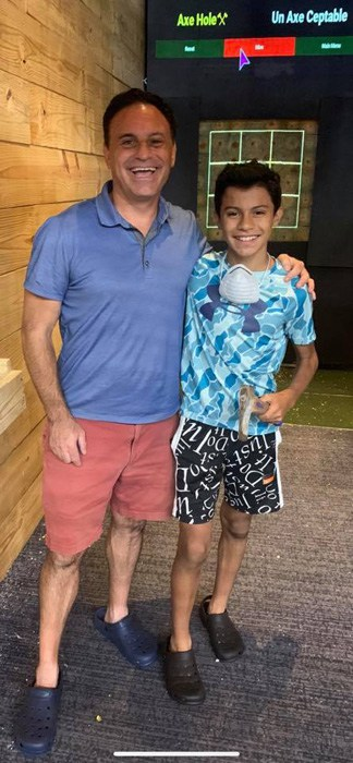 father and son at Bridgeport axe throwing venue