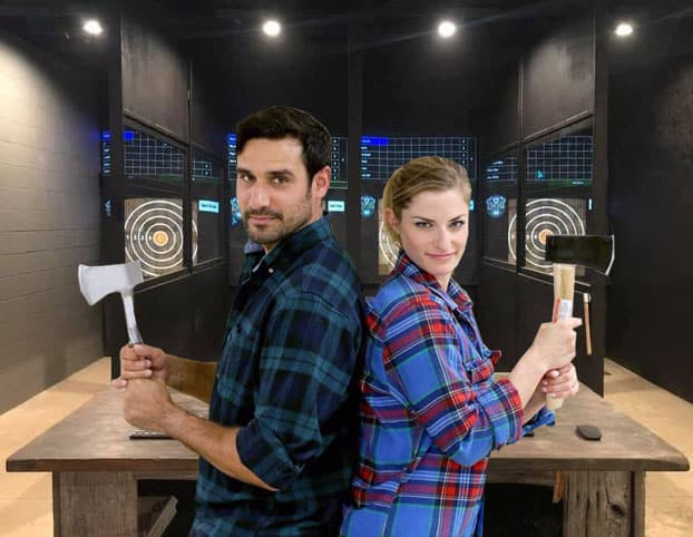 bride and groom axe throwing