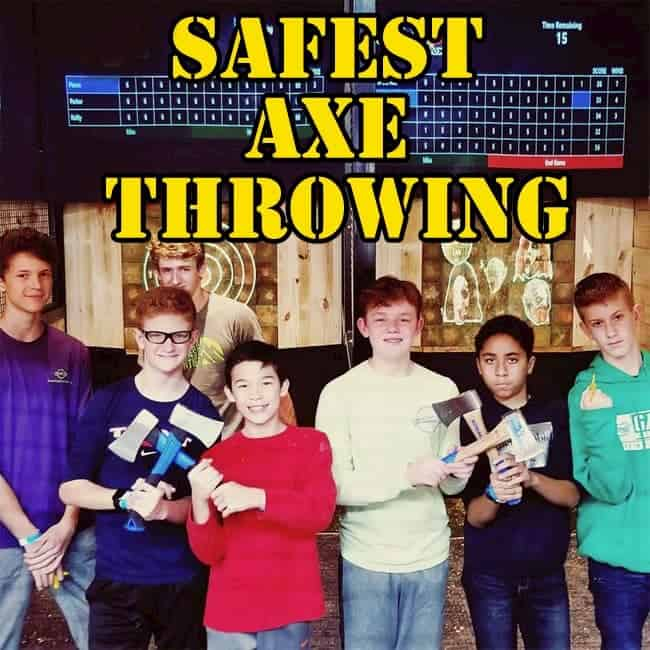 boys at axe throwing birthday party